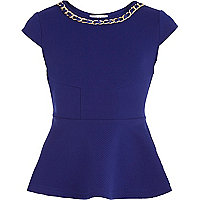 Girls blue ribbon chain peplum top