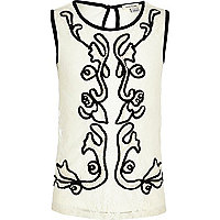 Girls cream lace contrast trim vest