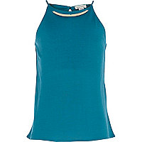 Girls teal metal plate necklace cami top