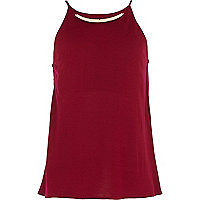 Girls red metal plate necklace cami top