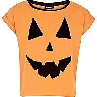 Girls orange pumpkin print t-shirt