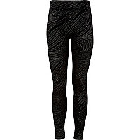 Girls black glitter zebra leggings
