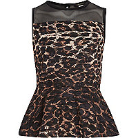 Girls brown leopard print peplum top