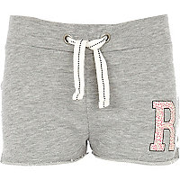 Girls grey R initial shorts