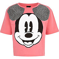 Girls pink diamante Mickey Mouse crop top