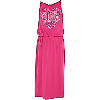 Girls pink chic studded maxi dress