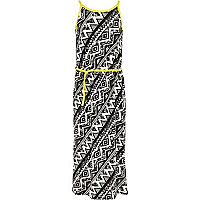 Girls white and black aztec print maxi dress