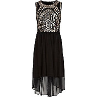 Girls black embellished dip hem maxi dress