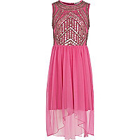 Girls pink embellished dip hem maxi dress