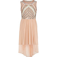 Girls beige embellished dip hem maxi dress