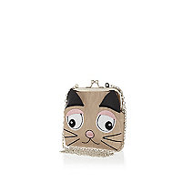 Girls beige cat purse