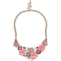 Girls pink flower statement necklace