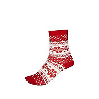 Girls red fairisle socks