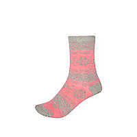 Girls pink fairisle socks