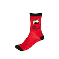 Girls red little pudding socks