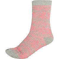 Girls pink chunky fairisle knit socks