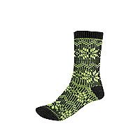 Girls green chunky fairisle knit socks