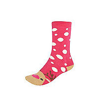 Girls pink reindeer slipper socks