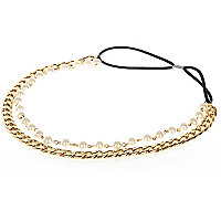 Girls gold tone chain and pearl headband