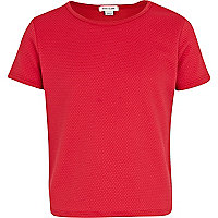 Girls red textured cropped top