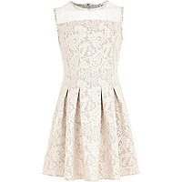 Girls cream lace fit and flare dress