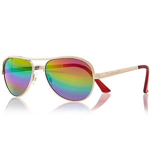 Girls yellow rainbow lense aviator sunglasses