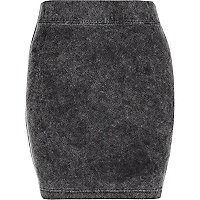 Girls grey acid wash denim look skirt
