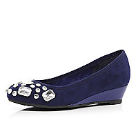 Girls navy embellished ballerina wedges