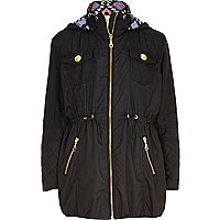 Girls black nylon zip front parka