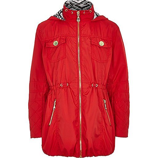Girls red nylon zip front parka