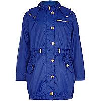 Girls blue nylon parka mac