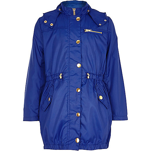 Girls blue nylon parka mac