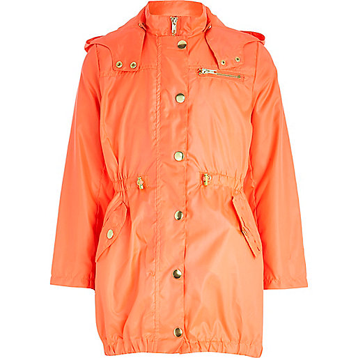 Girls coral nylon parka mac