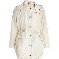 Girls cream nylon parka mac
