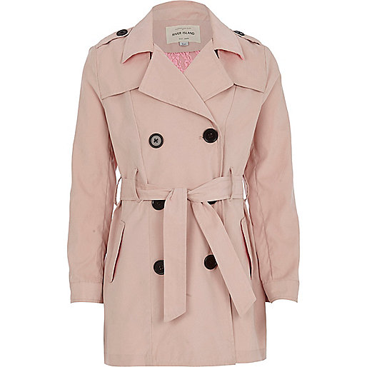 Girls pink trench coat