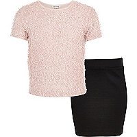 Girls pink fluffy cropped t-shirt and skirt