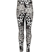 Girls black abstract animal print leggings