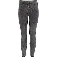 Girls grey high waisted denim look leggings