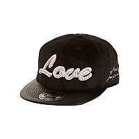 Girls black diamante love trucker hat