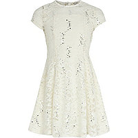 Girls cream sequin lace dress