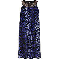 Girls blue leopard print babydoll dress