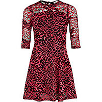 Girls pink lace 3/4 sleeve dress
