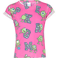 Girls pink Monsters Inc letters t-shirt
