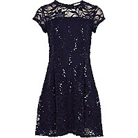 Girls navy sequin lace skater dress