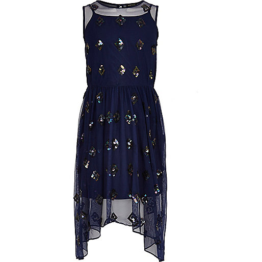 Girls navy sequin maxi dress