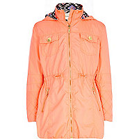 Girls pink nylon zip front parka