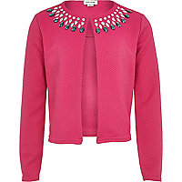 Girls pink gem embellished jacket