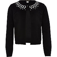 Girls black gem embellished jacket