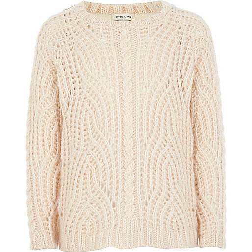Girls light pink fluffy cable knit jumper