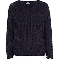 Girls navy fluffy cable knit jumper